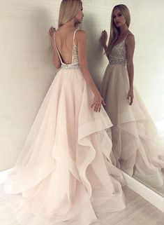 A Line V Neck Backless Light Champagne Prom Dress With Beading luxury beading long prom dresses, chic light champagne organza party gowns, modest backless long prom dresses for teens Pretty Dresses, Sexy Dresses, Evening Dresses, Fashion Dresses, Long Dresses, Prom Dresses For Teens Long, Dance Dresses, Classy Prom Dresses, Dress Long