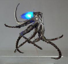 Sculpture de pieuvre à partir d'un enjoliveur
