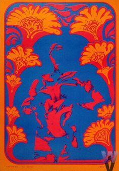Victor Moscoso-1967-Wildflower en el Matrix- Victor Moscoso fue uno de los cinco artistas psicodélicos más importantes de San Francisco. Usaba colores muy vibrantes en su obra.