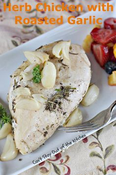 Herb Chicken with Roasted Garlic is a savory and succulent chicken dish with herbs and roasted garlic. This recipe is gluten free, healthy and low calorie.