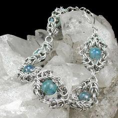 Romanov Weave Chain Maille Bracelet Sterling Silver Kyanite Beaded | bohowirewrapped - Jewelry on ArtFire