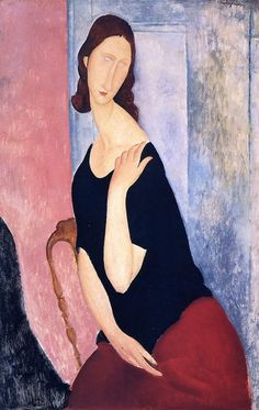 Amedeo Modigliani - Portrait Of Jeanne Hebuterne - 1918 - Pc - Painting - Oil On Canvas For more paintings of the author, visit here: http://worldart.s... - World Art - Google+