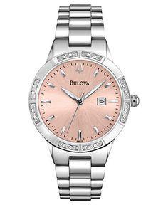 Bulova Watch, Women's Diamond Accent Stainless Steel Bracelet 32mm 96R175 - Women's Watches -