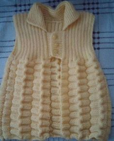 This Pin was discovered by Pam Knit Baby Pants, Knit Baby Sweaters, Crochet Baby Clothes, Baby Vest, Baby Cardigan, Girls Sweaters, Crochet Vest Pattern, Baby Knitting Patterns, Baby Patterns