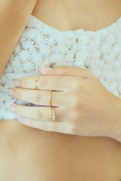 love this 3 stone ring in GoLD and love this talented girls shop on etsy called BohemianSands... she lives in Spain and there are 3 of her rings that i'm obsessed with!!!