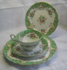Tuscan Bone China England Tea Cup & Saucer Dessert Salad Plate Blenheim Roses #Tuscan