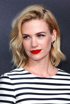 Major Weekend Beauty Inspiration From January Jones. Loving the red lip and earring cuff.