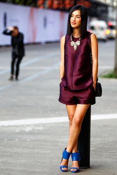We're loving the plum shorts suit and cobalt blue heels combo in this Sydney Fashion Week #streetstyle look.