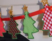 "Christmas Tree Banner In The Hoop Banners Machine Embroidery Designs Applique Patterns all done In-The-Hoop in 5 sizes 5"", 6"", 7"", 8"" and 9"""