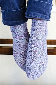 I just need a little bit of lace in my life right now! These socks are knit from the cuff down in the traditional manner. The leg may be worked as long or short as desired. Sometimes I feel like those of us with smaller or bigger than average feet get left out of the sock pattern fun. So here is a design just for us! Sorry happy mediums!