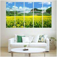 Pf5007 impresso 5 peças painel de pintura a óleo na parede da lona de arte quadros para casa decoratio canola flores & mountain far away