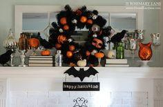 21 Rosemary Lane: Orange & Black Never Looked Better Halloween Mantel