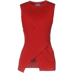 Philosophy Di Alberta Ferretti Jumper (£160) ❤ liked on Polyvore featuring tops, sweaters, red, sleeveless jumper, sleeveless sweater, philosophy di alberta ferretti, cotton sweaters and red sleeveless top
