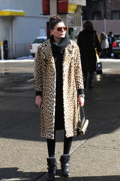 New York Fashion Week 2013 Street Style Collage Vintage Giovanna Battaglia Leopard Coat