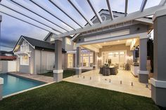 Hamptons style alfresco area with pool - Oswald Homes