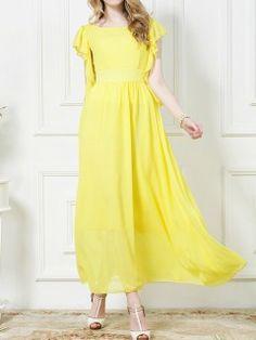Shop Yellow Chiffon Maxi Dress With Ruffle Sleeve from choies.com .Free shipping Worldwide.$33.99
