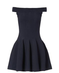 Jonathan Simkhai Off The Shoulder Dress: Navy: Stitch-work lends a handcrafted texture to the dress. Off the shoulder cut. Fitted through the waist with a flared skirt bottom. In navy. Fabric: 52% viscose/48% nylon Imported.    Model Measurements: Height 5'10 1/2; Waist 24 ; Bust 31 wearing size S   ...