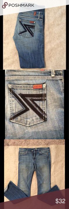 """7 for all mankind denim These were my fav jeans when they fit :) 40.5"""" 7 For All Mankind Jeans Boot Cut"""