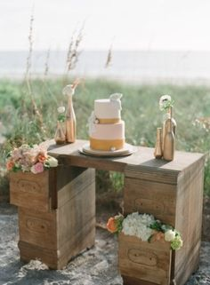 Natural Beach Chic Inspiration Shoot (decor dessert setting cake pastries by design jessica lorren organic photography) - Lover.ly