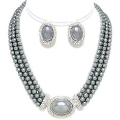 Large Pearl Clip-on Earring and Necklace Set Boxed 170) (15 KWD) ❤ liked on Polyvore featuring jewelry, earrings, clip back earrings, pearl jewellery, earring jewelry, white clip earrings and earring necklace set