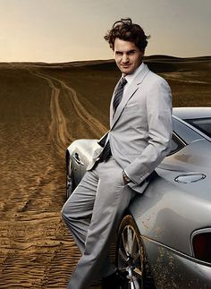 Sleek lines on the suit and the car.  Roger Federer.  #tennis #fashion