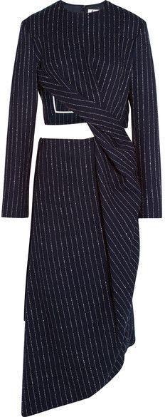 Acne Studios - Elvia Cutout Pinstriped Wool-blend Dress - Navy