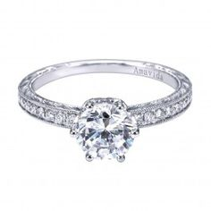 18K White Gold Pave Fancy Carved Engagement Ring Wedding Day Diamonds