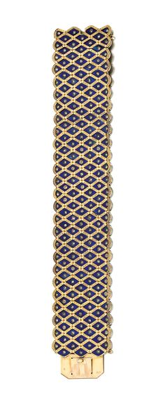 ENAMEL AND DIAMOND BRACELET, LATE 19TH CENTURY.  Designed as an articulated band decorated with lozenge motifs set with guilloché enamel and highlighted with rose diamonds, length approximately 175mm, French export and indistinct maker's marks.