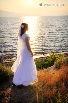 bridal at lake shore at sunset