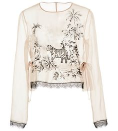 Silk Embroidered Blouse by Alberta Ferretti. Rendered in silk this *Alberta Ferretti*blouse features a jewel neckline all over embroidery and a cropped silhouette.