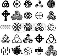 Celtic Knot Tattoos on Stock Vector Set Of Celtic Symbols Icons Vector Tattoo Design Set Celtic Symbols And Meanings, Celtic Tattoo Symbols, Celtic Tattoos, Celtic Art, Ancient Symbols, Love Symbols, Celtic Runes, Celtic Crosses, Irish Symbols