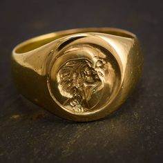 Just in: This magical #antique #SignetRing has been carved with an unusual #intaglio. Depicted is a woman kissing the moon, in the Art Nouveau style - with beautiful detail throughout. The simple round-faced signet ring is modelled in 18ct gold, with #Chester hallmarks for the year #1897. DM or email for more details 🌙 #antiquejewelry #butterlaneantiques #showmeyourrings #jotd #ArtNouveau #VictorianJewelry #ringoftheday #intaglioring #antiquering #moon #woman #kiss