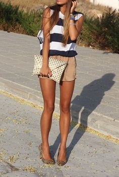 striped shirt with khaki shorts, love