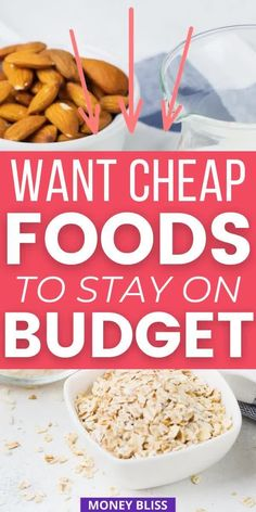 Cheapest foods when broke and need to stock pantry. Here is your list from Money Bliss of what to buy at the grocery store when you have no money. Eat healthy foods on a tight budget. Stretch your grocery budget with these money saving tips and foods. Enough cheap food for a crowd and eat yummy recipes. - Money Bliss Lunch Recipes, New Recipes, Yummy Recipes, Yummy Food, Healthy Recipes, College Food, College Meals, Cheap Food, Cheap Meals