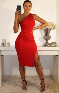 Red One Shoulder Midi Dress – Bodycon Dress Elegant Dresses, Sexy Dresses, Casual Dresses, Short Dresses, Fashion Dresses, Dresses For Work, Summer Dresses, Formal Dresses, Wedding Dresses