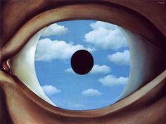 Clouds & dreams in our eyes - Surrealist painter, Rene Magritte 'The False Mirror, Rene Magritte, Masonic Art, Reading Art, Art Database, Museum Of Modern Art, Surreal Art, Salvador Dali, Airplane View, Abstract Art