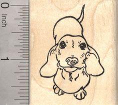Dachshund Rubber Stamp Wiener Dog G26411 Wood by Rubberhedgehog