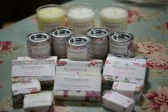 Full range of soap and candles in Emily Burningham papers