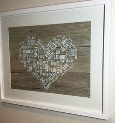 A personal favourite from my Etsy shop https://www.etsy.com/uk/listing/261541711/personalised-word-cloud-perfect