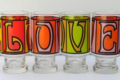 Vintage LOVE Set of Four Drinking Glasses by EdibleComplex on Etsy, $28.00