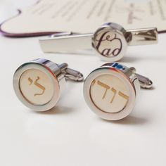 """One of my all-time favorite custom projects; cufflinks and tie bar including the wedding invitation blessing """"I am my beloved's and my beloved is mine"""""""