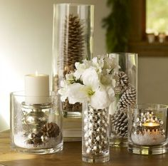 Easy to do for the Christmas  and winter season ~ fill some glass containers, vases, etc
