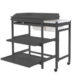 table langer comfort plus avec tagres extractibles avec baignoire grise fonce