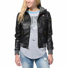 Stand out while staying warm this winter in the Glamour Kills The Tay bomber jacket for girls. Built with a Black faux leather exterior, fleece lining and Charcoal hood, this bomber jacket from Glamour Kills has plenty of pocket storage and zipper detailing throughout to keep you in style.