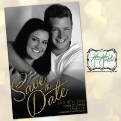 Photo Gold Glitter Script Save the Date, Black and White Picture (Digital File) by jojosdesigns on Etsy