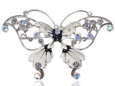 Silver Tone Metallic Enamel Wing Aurora Borealis Crystal Butterfly Pin Brooch #Unbranded