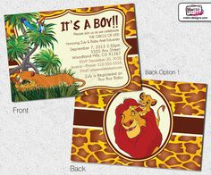 Lion King Inspired Baby Shower Invitations by MetroEvents on Etsy, $7.98