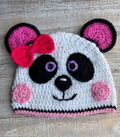 Crochet Pattern Only - Sassy Panda Girl Crochet Hat/Infant, Child, Adult Crochet Panda Beanie/Crochet Panda Beanie Pattern by FurBabiesCB on Etsy Crochet Panda, Crochet Teddy Bear Pattern, Crochet Bear, Crochet Patterns, Crochet Hats For Boys, Baby Hats Knitting, Stitch Crochet, Beanie Pattern, Crochet Basics