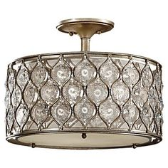 Considering this for our master bedroom, from feiss.com SF289BUS Lucia Collection  3-Light Indoor Semi-Flush Mount