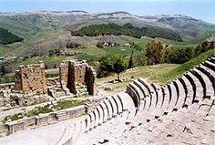 Algeria:  Le site de Djémila abrite les vestiges de l'antique Cuicul, cité romaine, classée patrimoine mondial par l'Unesco.   The Roman theatre.